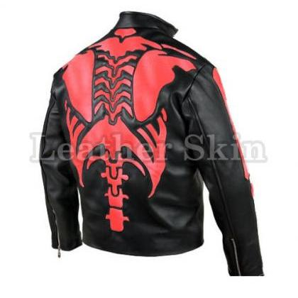 Leather Skin Men Skeleton Biker Mot..