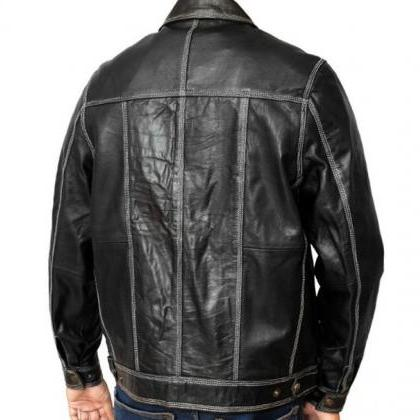 Handmade Men Black Leather Jacket w..