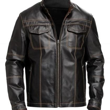 Leather Skin Men Black Biker Motorc..