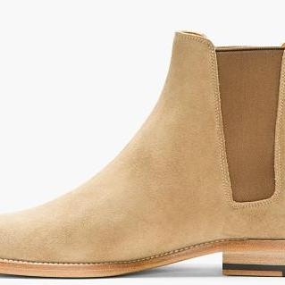 Men Chelsea Handmade Beige Slip On Suede Leather Boots Shoes