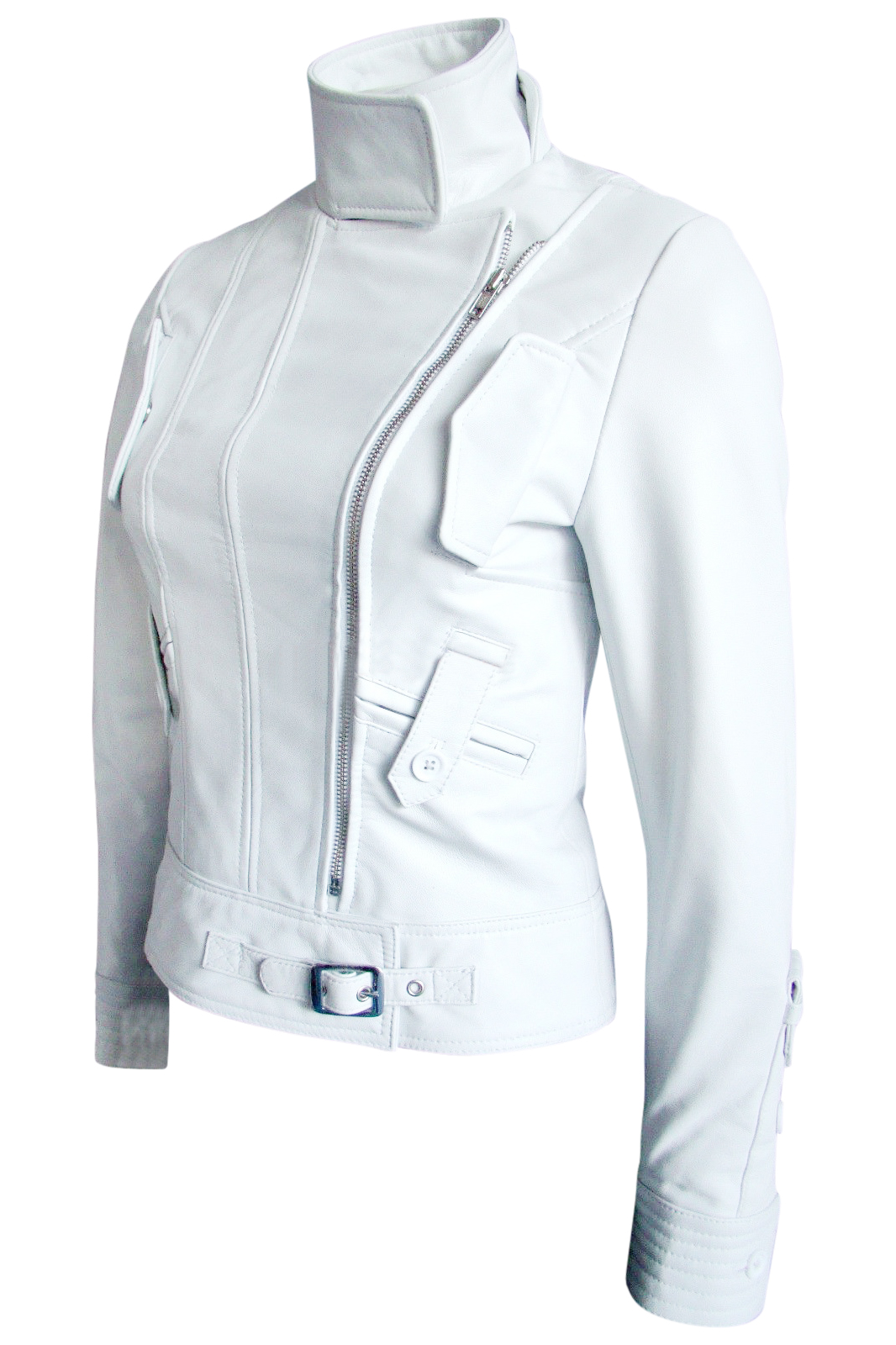 Leather Skin Women White Angel Brando Leather Jacket