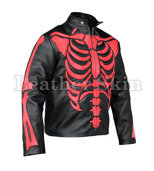 Leather Skin Men Skeleton Biker Motorcycle Leather Jacket