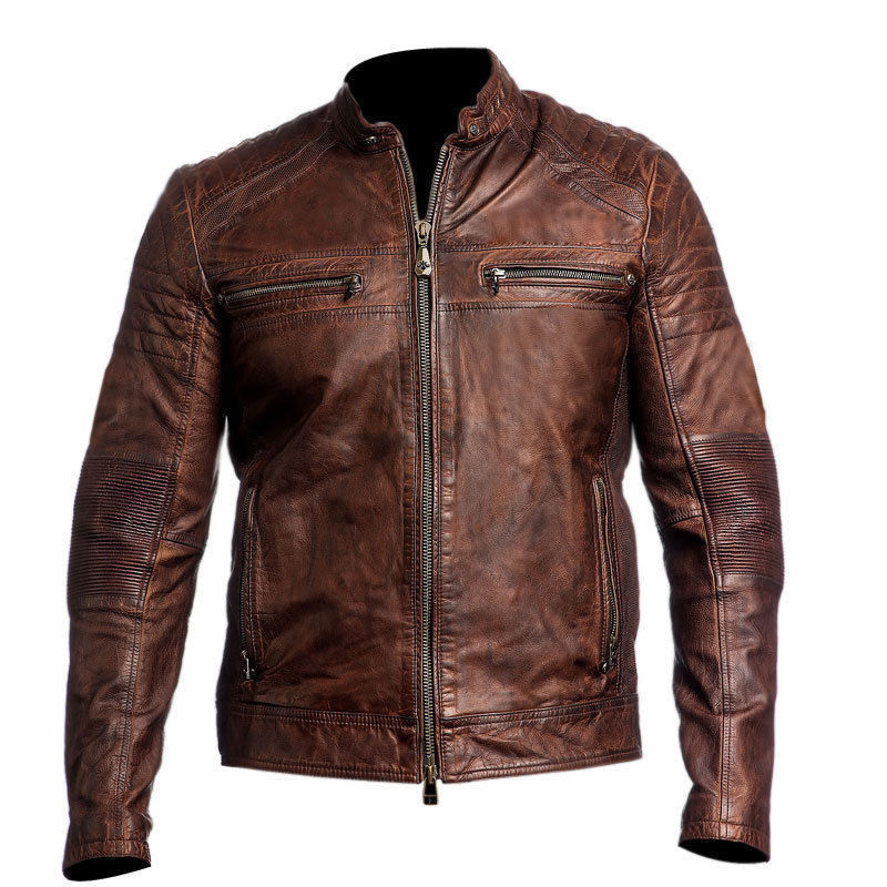 Handmade Leather Skin Men Distressed Red Cafe Racer Genuine Premium Leather Jacket
