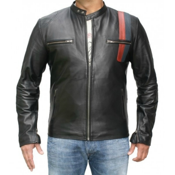 Leather Skin Men Black Handmade Genuine Leather Jacket with Front Pockets and Stripes