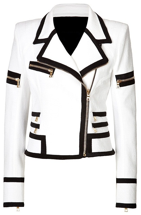 Leather Skin Women White Genuine Handmade Brando Leather Jacket with Black Borders and Gold Zippers