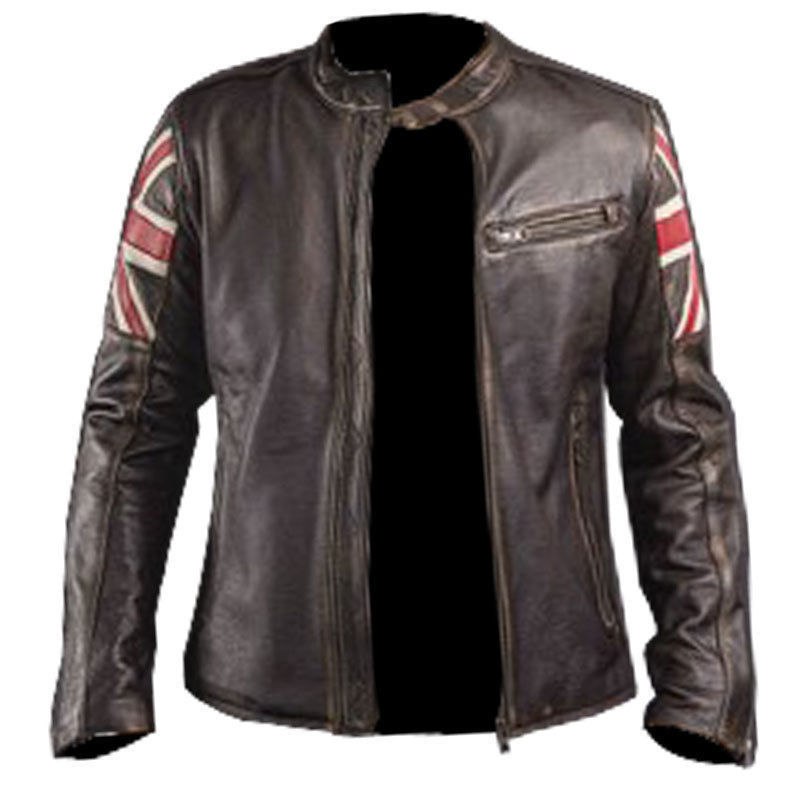 Leather Skin Men Brown Handmade UK Flag Genuine Leather Jacket