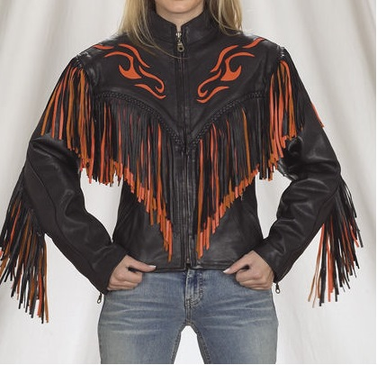 Leather Skin Women Black Handmade Orange Fire Cowboy Genuine Leather Jacket with Leather Fringes
