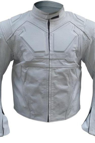 Leather Skin Oblivion Men White Genuine Leather Jacket