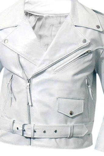Leather Skin Men White Brando Biker Motorcycle Leather Jacket