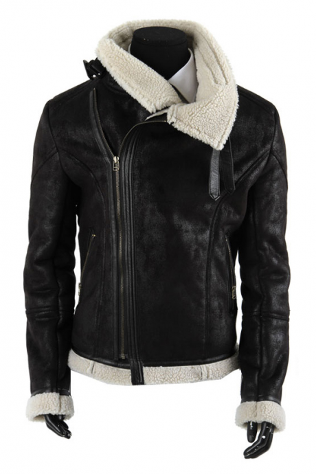 Leather Skin Women Black Fleece Quilted Leather Jacket