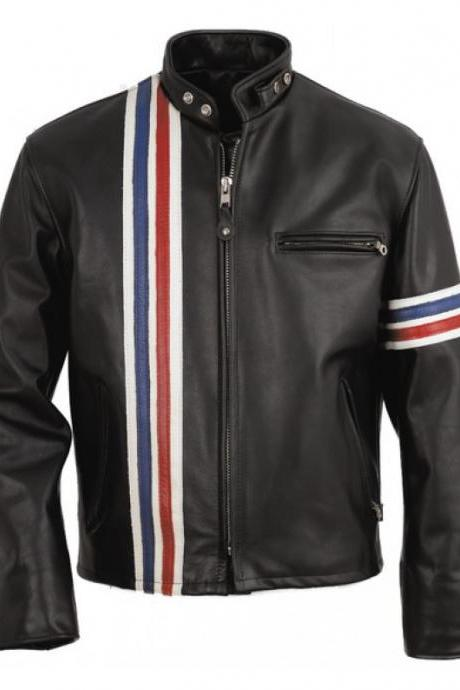 Leather Skin Men Easy Rider Black Stripped Leather Jacket