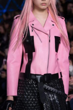 Leather Skin Women Pink Genuine Leather Jacket