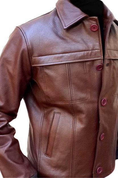Leather Skin Men Brown Bold Leather Jacket