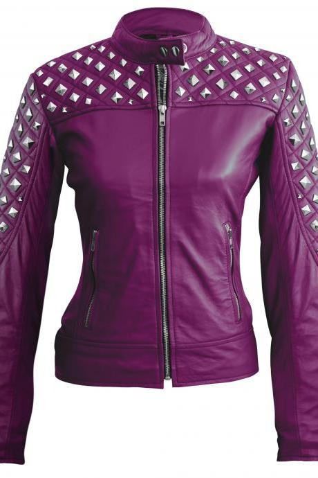 Leather Skin Women Purple Spike Studded Studs Leather Jacket