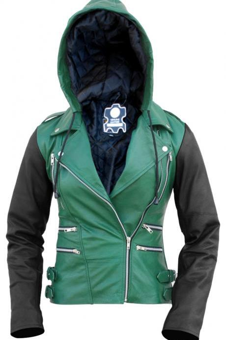 Leather Skin Women Green Hooded Hood Brando Leather Jacket with Black Sleeves