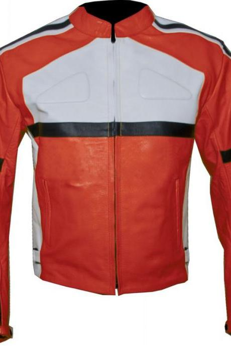 Leather Skin Men Orange Biker Motorcycle Leather Jacket