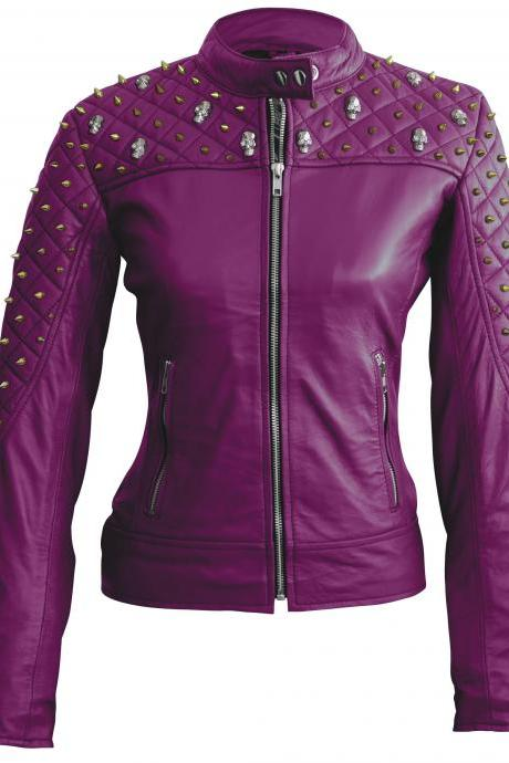 Leather Skin Women Purple Spike Studded Studs Shoulder Quilted Skeleton Leather Jacket