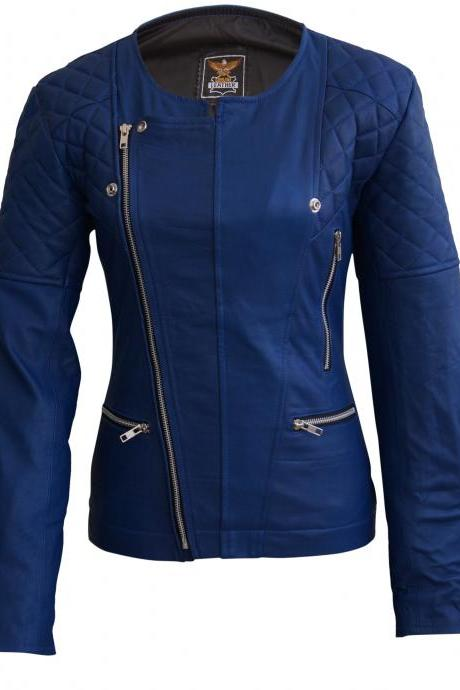 Leather Skin Women Navy Blue Shoulder Quilted Collarless Brando Leather Jacket