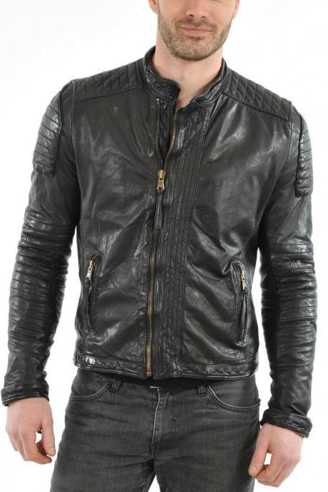 Handmade Leather Skin Men Black Lambskin Genuine Premium Leather Jacket