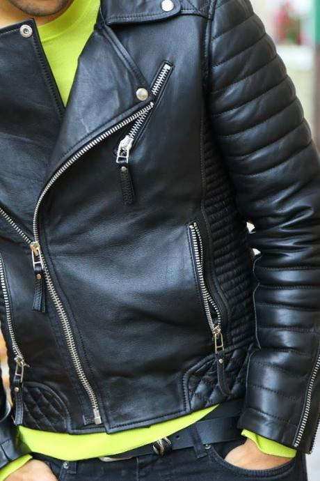 Handmade Leather Skin Men Black Brando Quilted Genuine Premium Leather Jacket