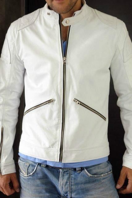 Handmade Men White Classic Genuine Premium Leather Jacket