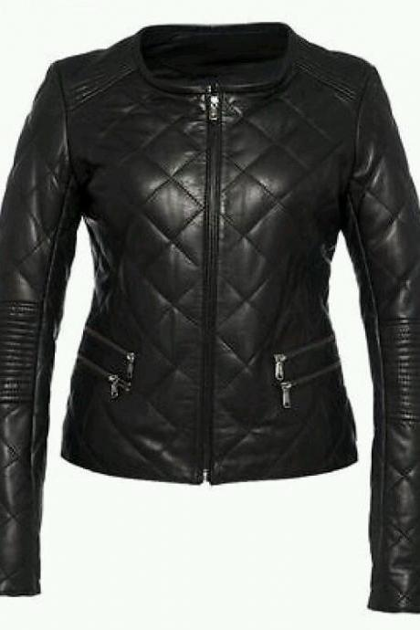 Leather Skin Women Black Diamond Quilted Genuine Premium Leather Jacket