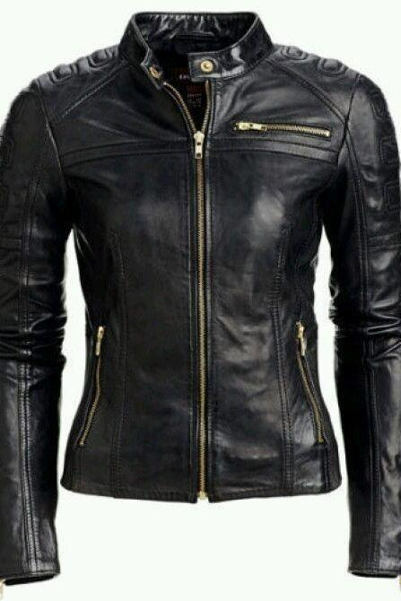 Leather Skin Women Black Shoulder Padded Gold Zippers Genuine Premium Leather Jacket