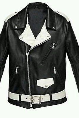 Leather Skin Men Black White Brando Belted Genuine Leather Jacket