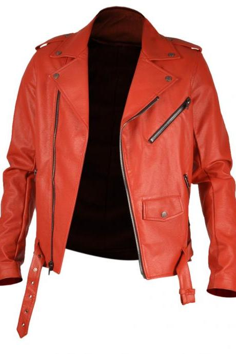 Leather Skin Men Red Brando Belted Genuine Premium Leather Jacket
