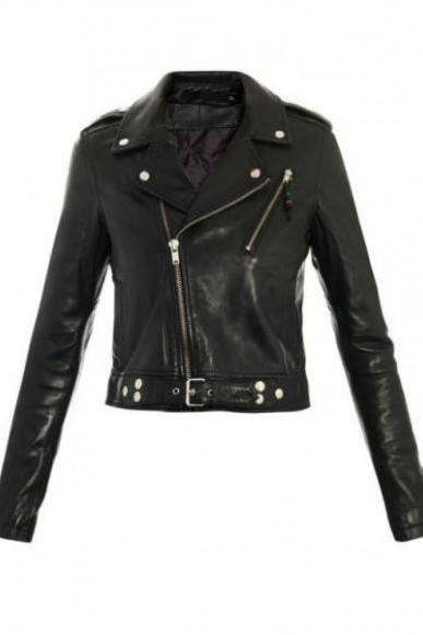 Women Handmade Black Belted Genuine Leather Jacket