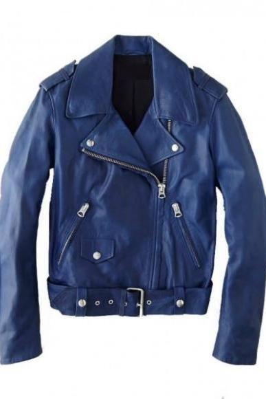 Leather Skin Men Blue Brando Belted Genuine Leather Jacket