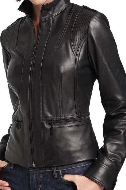 Leather Skin Women Black Handmade Stylish Genuine Leather Jacket