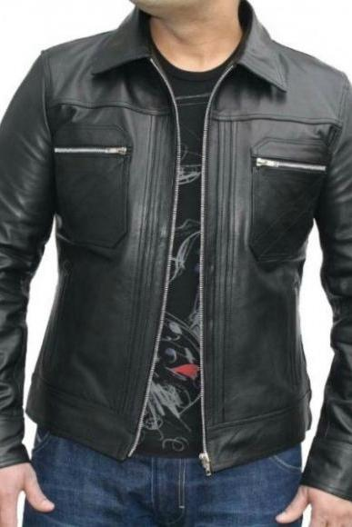 Leather Skin Men Black Handmade Genuine Leather Jacket with Front Diamond Quilted Pockets