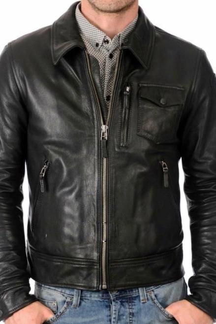 Leather Skin Men Handmade Black Genuine Leather Jacket with Front Tilt Pockets Side Zippers