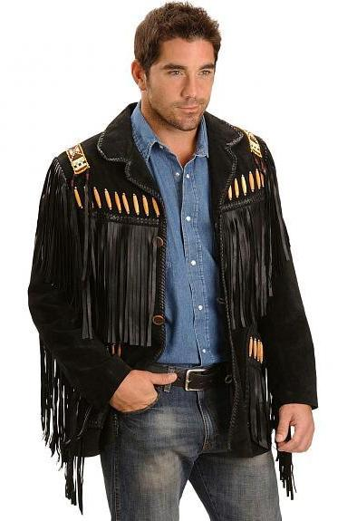 Leather Skin Men Western Black Suede Cowboy Leather Jacket with leather Fringes