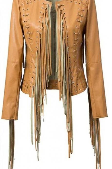 Leather Skin Women Brown Handmade Collarless Cowboy Genuine Leather Jacket with Leather Fringes