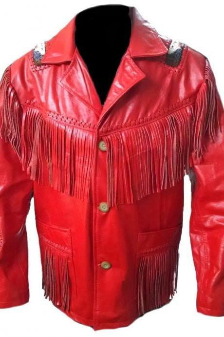 Leather Skin Men Red Handmade Genuine Leather Jacket with Leather Fringes White Wheel Badge