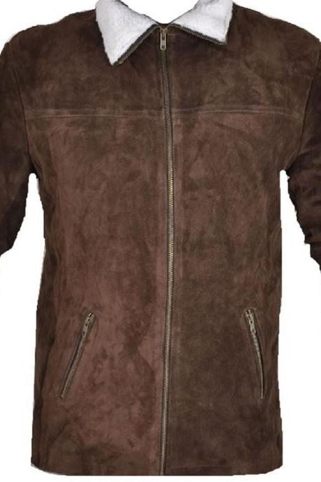 Leather Skin Men Handmade Brown Suede Leather Jacket with White Fur Collar