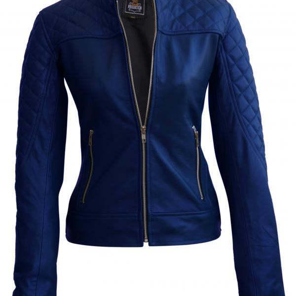 Leather Skin Women Navy Blue Shoulder Quilted Leather Jacket