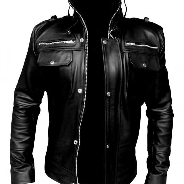 Leather Skin Men Black Leather Jacket with Front Pockets