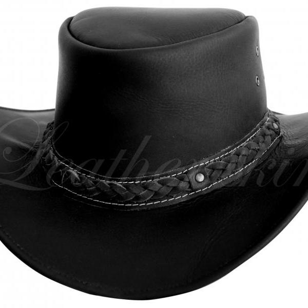 Leather Skin Men Handmade Black Hat Aussie Bush Cowboy Western Outback Leather Hat