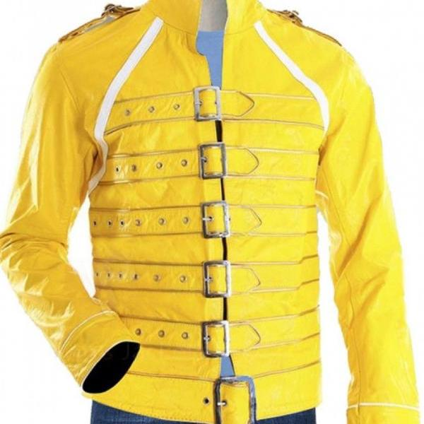 Freddie Mercury Queen Concert Yellow Leather Jacket Costume