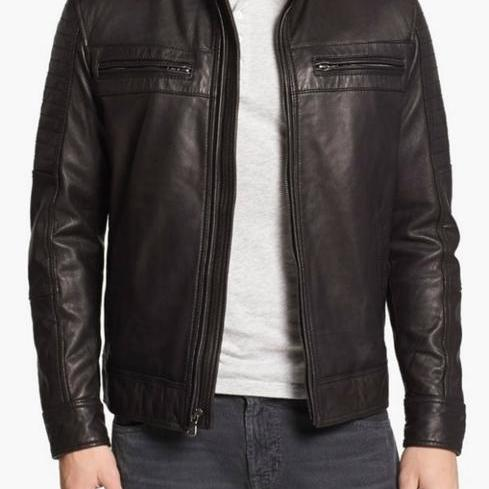 Leather Skin Men Handmade Black Genuine Leather Jacket with Front Pockets