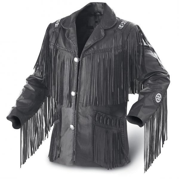 Leather Skin Men Western Black Genuine Cowboy Leather Jacket with leather Fringes