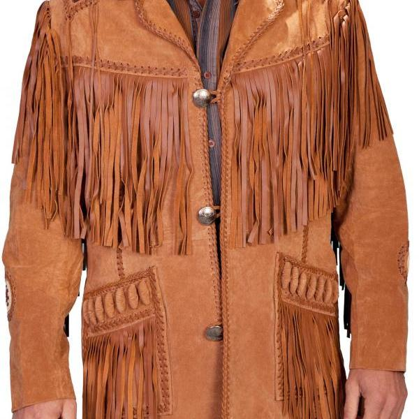 Leather Skin Men Western Camel Brown Suede Cowboy Leather Jacket with leather Fringes
