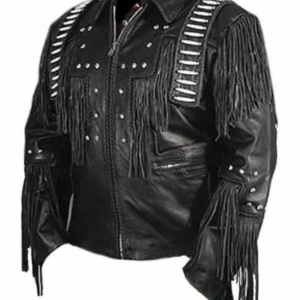 Leather Skin Men Black Handmade Genuine Leather Jacket with Leather Fringes White Stripes