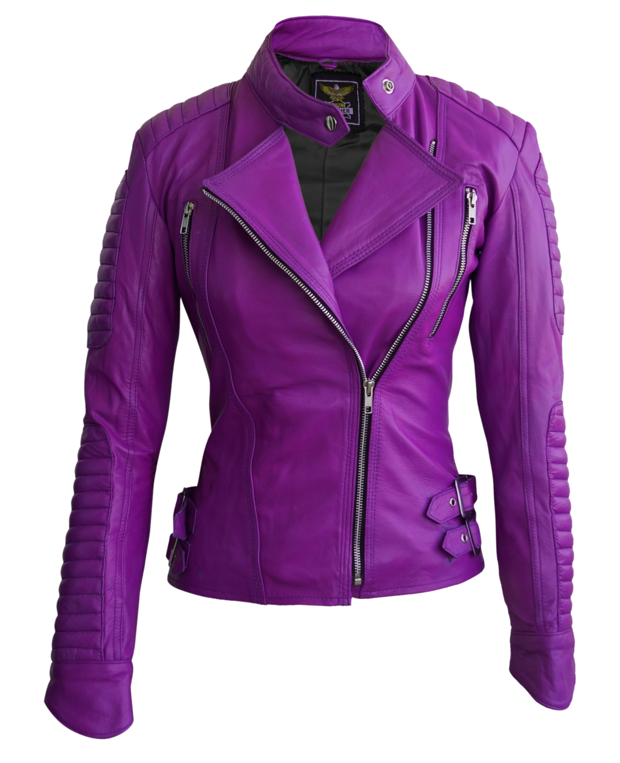 Winlit // Purple Leather Fringed Cropped Jacket Live out all your 80's dreams in this bright purple leather jacket from Winlit. Dark lavender purple, almost an ultraviolet color.